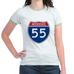 I-55 Highway Jr. Ringer T-Shirt