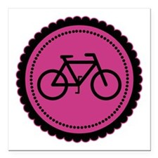 Cute Hot Pink and Black Bicycle Square Car Magnet