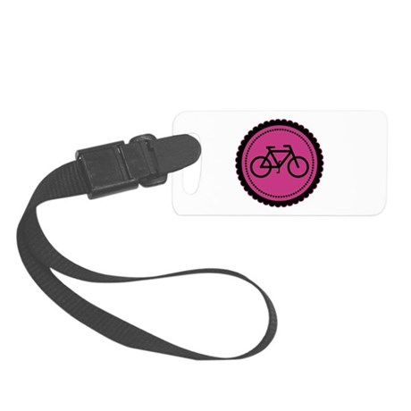 Cute Hot Pink and Black Bicycle Small Luggage Tag