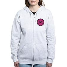 Cute Hot Pink and Black Bicycle Zip Hoodie
