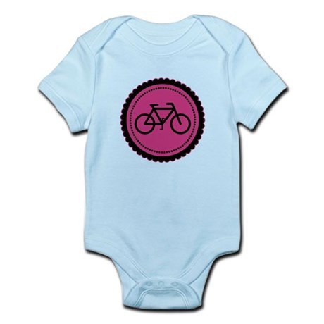 Cute Hot Pink and Black Bicycle Infant Bodysuit