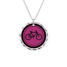 Cute Hot Pink and Black Bicycle Necklace