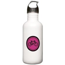 Cute Hot Pink and Black Bicycle Water Bottle