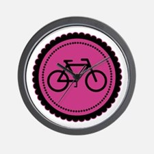 Cute Hot Pink and Black Bicycle Wall Clock