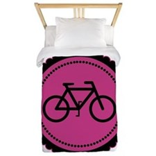 Cute Hot Pink and Black Bicycle Twin Duvet
