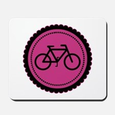 Cute Hot Pink and Black Bicycle Mousepad