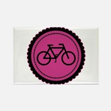 Cute Hot Pink and Black Bicycle Rectangle Magnet