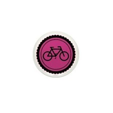 Cute Hot Pink and Black Bicycle Mini Button