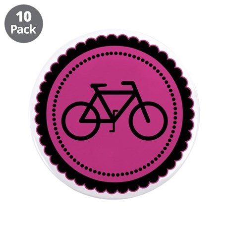 """Cute Hot Pink and Black Bicycle 3.5"""" Button (10 pa"""