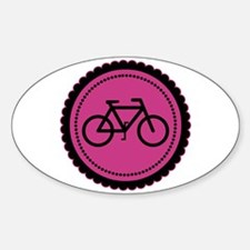 Cute Hot Pink and Black Bicycle Sticker (Oval)