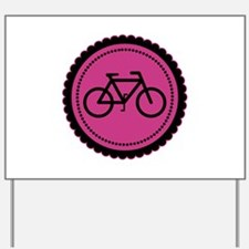 Cute Hot Pink and Black Bicycle Yard Sign