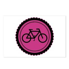 Cute Hot Pink and Black Bicycle Postcards (Package