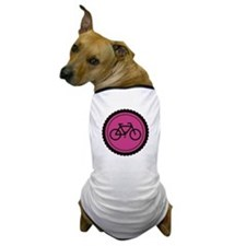 Cute Hot Pink and Black Bicycle Dog T-Shirt