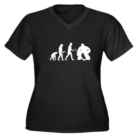 Hockey Goalie Evolution Women's Plus Size V-Neck D