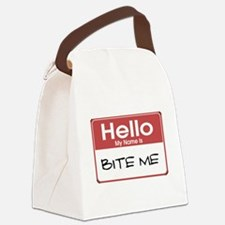 my-name-is-bite-me-10X10.png Canvas Lunch Bag
