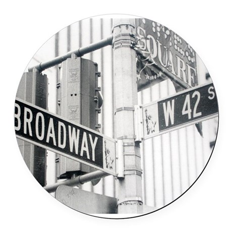 NY Broadway Times Square - Round Car Magnet
