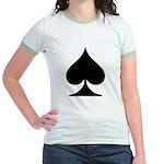 Spades Playing Card Symbol Jr. Ringer T-Shirt