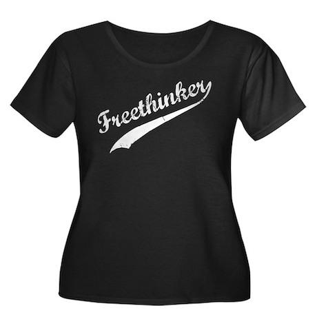 Freethinker Women's Plus Size Scoop Neck Dark T-Sh