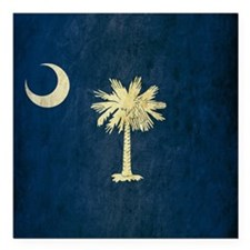 "Grunge South Carolina Flag Square Car Magnet 3"" x"