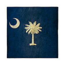 Grunge South Carolina Flag Queen Duvet