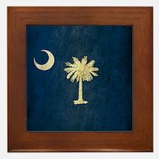 Grunge South Carolina Flag Framed Tile