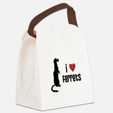 Ferret Canvas Lunch Bag: I Love Ferrets