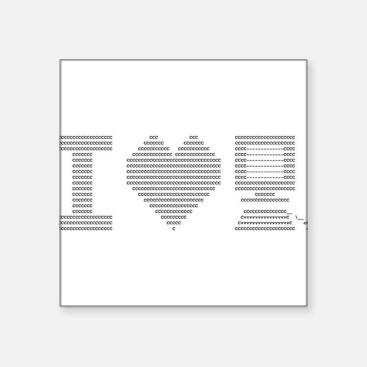 "I Heart My Computer Square Sticker 3"" x 3"""