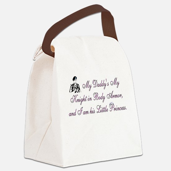 Pink, My Daddy is My Knight Canvas Lunch Bag