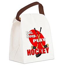 Eat Sleep Play Hockey Canvas Lunch Bag