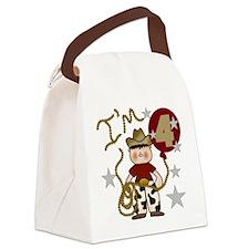 Cowboy 4th Birthday Canvas Lunch Bag