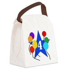 Star 4th Birthday Canvas Lunch Bag