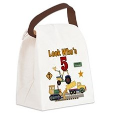 Construction 5th Birthday Canvas Lunch Bag
