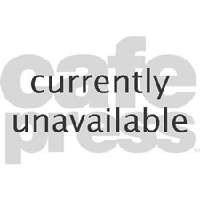 Black and white on red and yellow Teddy Bear