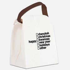 Generic Holiday Greeting Card Canvas Lunch Bag