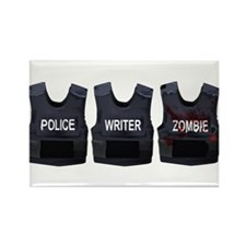 Police, writer, zombie Rectangle Magnet