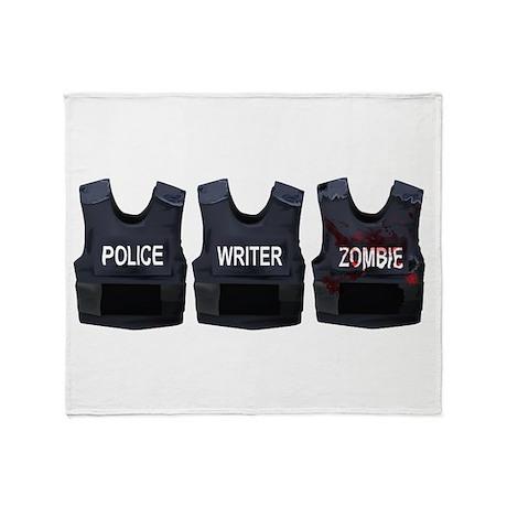 Police, writer, zombie Throw Blanket