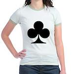 Clubs Playing Card Symbol Jr. Ringer T-Shirt