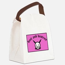 Knit and Destroy Skull Canvas Lunch Bag