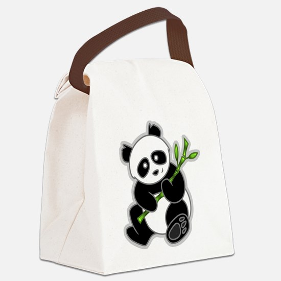 Sitting Panda Bear Canvas Lunch Bag