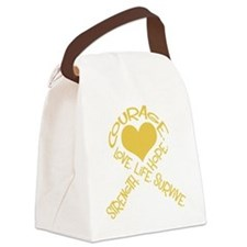 Gold Ribbon of Words Canvas Lunch Bag