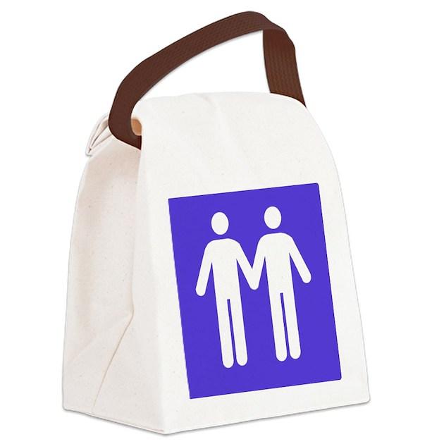 Gay Bathroom Sign Canvas Lunch Bag By Lesquelles