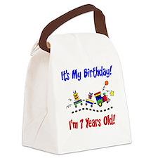 Train 7th Birthday Canvas Lunch Bag
