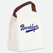 Cursive Blue Brooklyn Canvas Lunch Bag