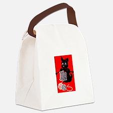 Knitting Retro Scottie Dog Canvas Lunch Bag