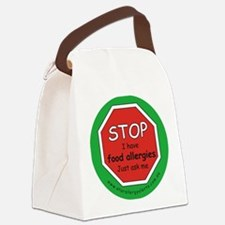STOP I have food allergies. Canvas Lunch Bag