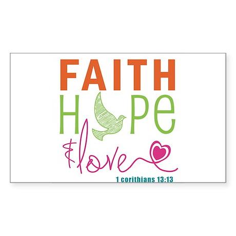 Faith Hope & Love Sticker (Rectangle)
