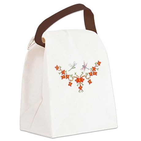 Cherry Blossom Dragonflies Canvas Lunch Bag