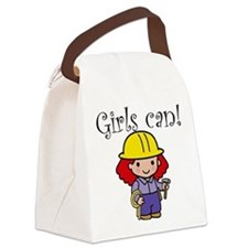 Girl Construction Worker Canvas Lunch Bag