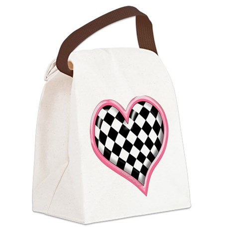Racing Heart Pink Canvas Lunch Bag