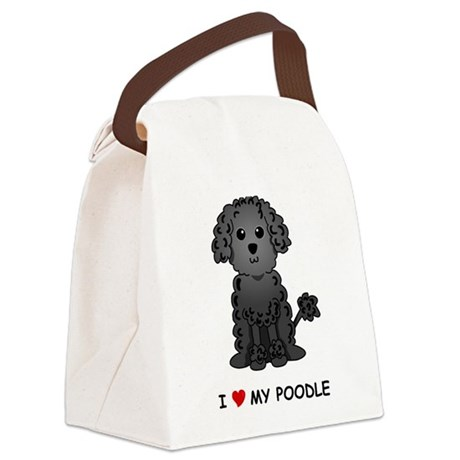Black Poodle Canvas Lunch Bag